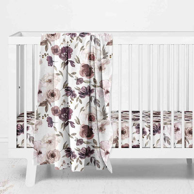 dusty purple watercolor floral nursery
