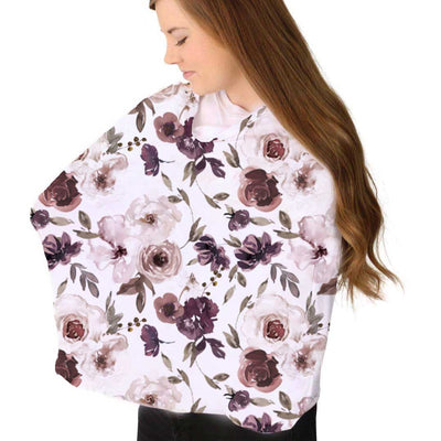 demi's dusty purple floral stretchy multi-use nursing cover