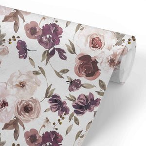 demi's dusty purple floral removable wallpaper