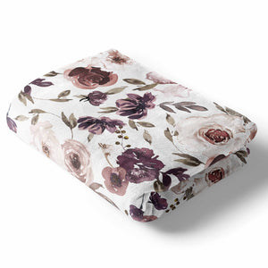 demi's dusty purple floral soft baby stroller toddler and throw blanket