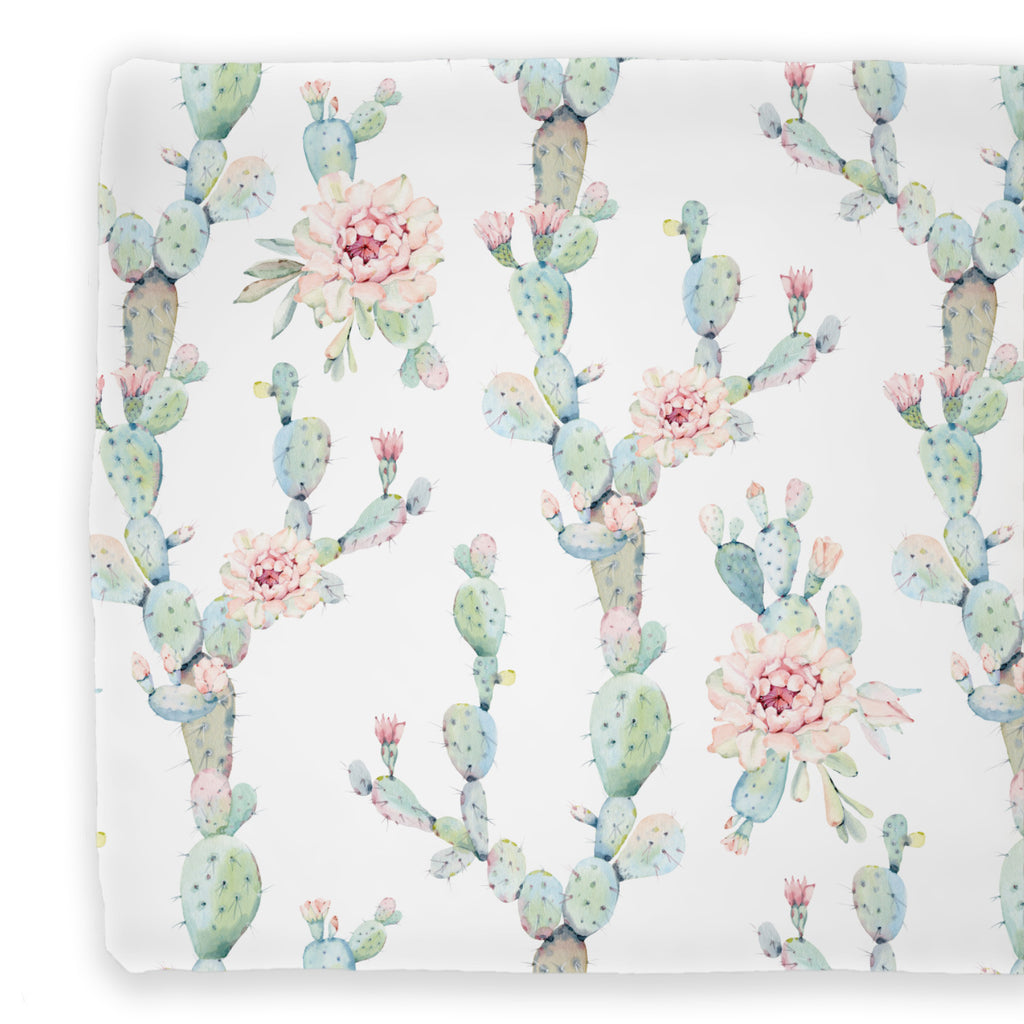 cactus with soft blush blooms changing pad covers