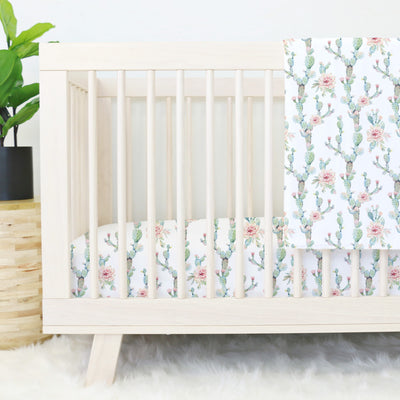 Soft Boho Cactus Baby Girl Crib Bedding with Blush Flowers