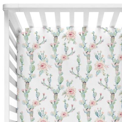 Blush and Green Floral Cactus Fitted Crib Sheet