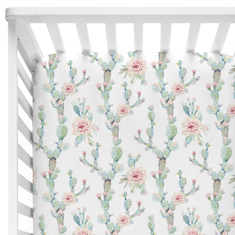 Mint and Blush watercolor cactus blooms baby girl fitted crib sheet