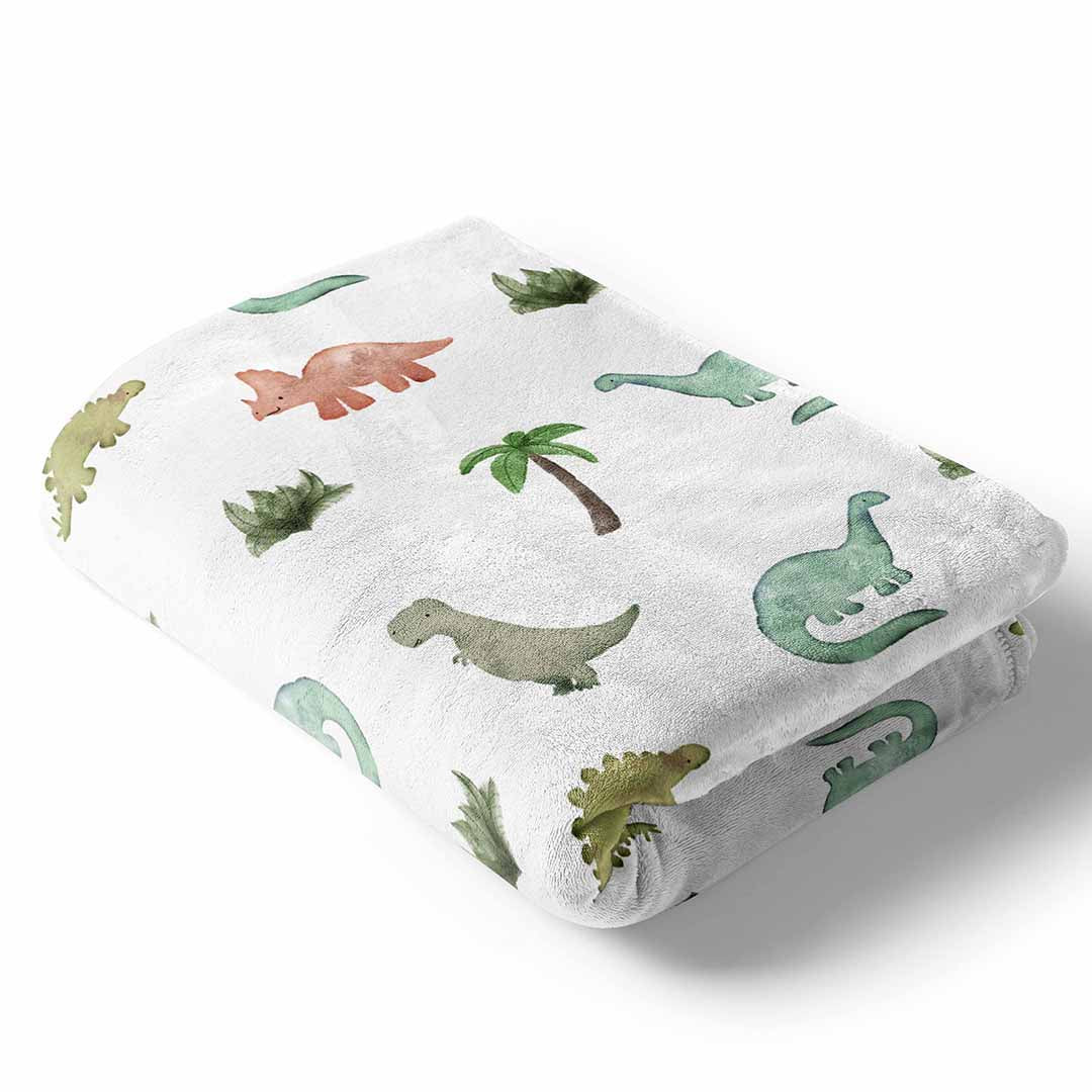 Unique Baby Trendy Blanket with Straight Edges Dinosaur Print Red