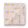 Dusty Pinks Retro Personalized Baby Name Swaddle Blanket