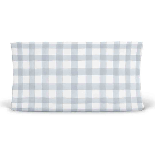dusty blue gingham soft stretchy knit changing pad cover