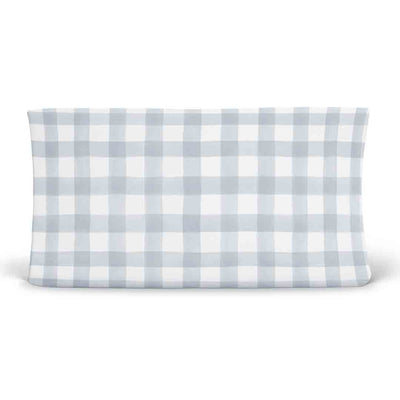 dusty blue gingham soft knit changing pad cover