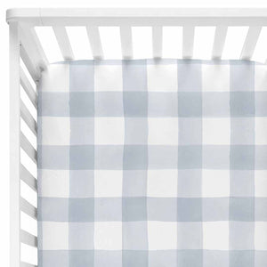 dusty blue gingham stretchy knit crib sheet