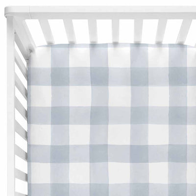 dusty blue gingham soft knit crib sheet