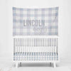 Dusty Blue Gingham Personalized Wall Tapestry