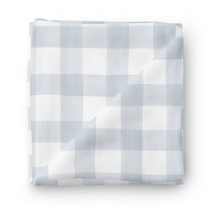 dusty blue gingham soft knit oversized swaddle blanket