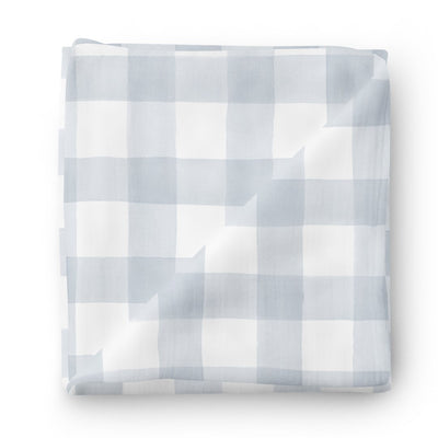 dusty blue gingham soft knit oversized swaddle