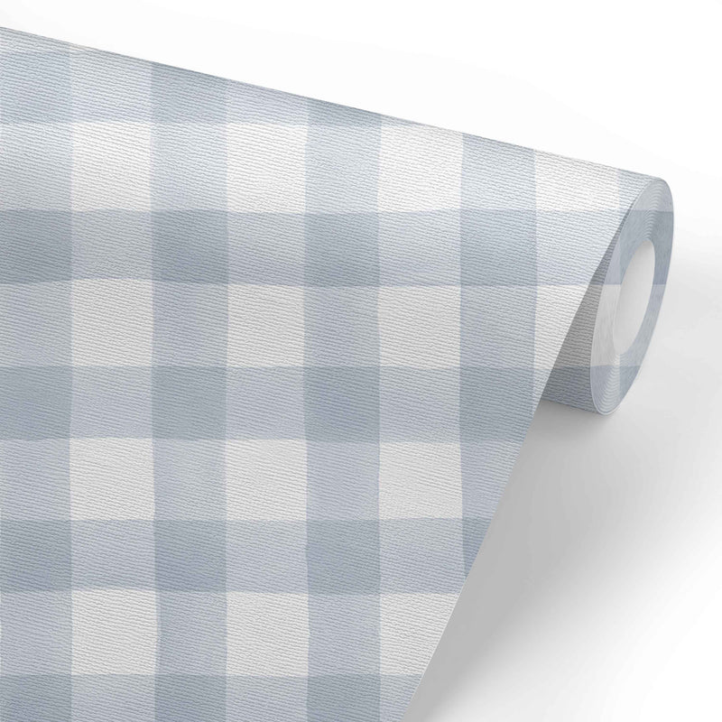 Dusty Blue Gingham Removable Wallpaper
