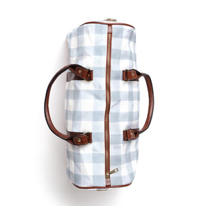 Dusty Blue Gingham Overnight Bag
