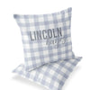 dusty blue gingham personalized throw pillow