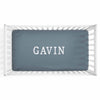 Personalized Baby Name Dusty Blue Color Jersey Knit Crib Sheet in Block Print Style
