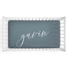 Personalized Baby Name Dusty Blue Color Jersey Knit Crib Sheet in Centered Script