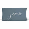Personalized Dusty Blue Jersey Knit Changing Table Cover with Script