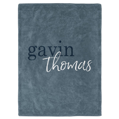 Dusty Blue Color Story Personalized Name Soft Fleece Toddler Throw Blanket