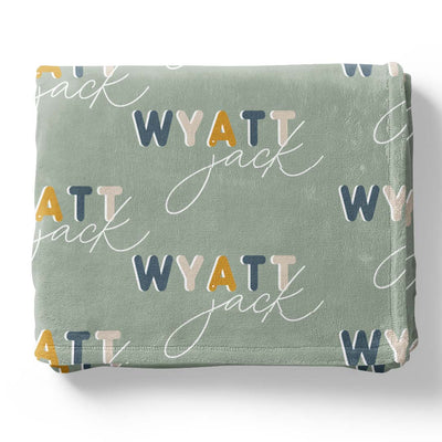 Dusty Blues Retro Personalized Toddler Blanket