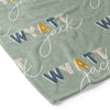 Dusty Moss Retro Personalized Toddler Blanket