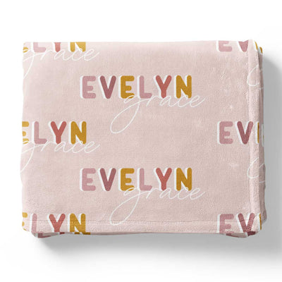 Dusty Pinks Retro Personalized Toddler Blanket