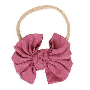 Solid Dusty Rose Knit Bow Headband*