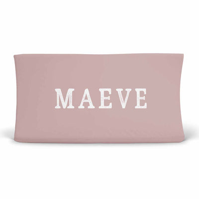 Personalized Mauve Jersey Knit Changing Pad Cover with Block Print