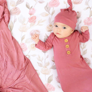 Dusty Rose Newborn Baby Knot Gown