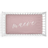Personalized Baby Name Mauve Color Jersey Knit Crib Sheet in Centered Script Style