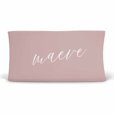 Personalized Mauve Jersey Knit Changing Table Cover with Script