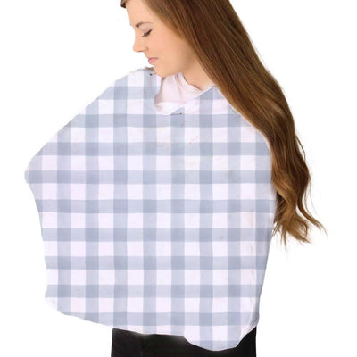 dusty blue gingham stretchy knit multi-use nursing cover