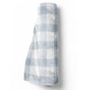 dusty blue gingham soft minky baby toddler throw blanket