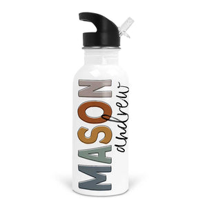 Earthy Neutrals Color Block Personalized Kids Water Bottle