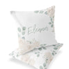 Eleanor's Sage and Ivory Floral Custom Name Throw Pillow