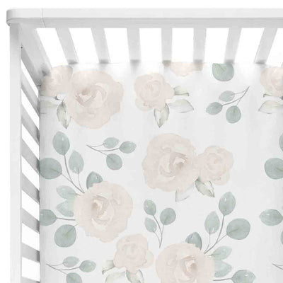 Eleanor's Sage & Ivory Floral Crib Sheet