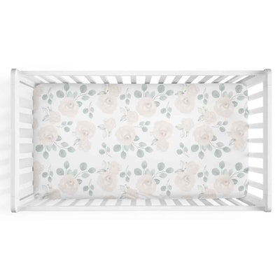 Eleanor's Sage & Ivory Floral white knit crib sheet