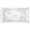 Eleanor's Sage & Ivory Floral White Personalized Crib Sheet