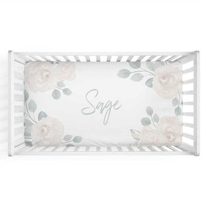 Eleanor's Sage & Ivory Floral Personalized Crib Sheet