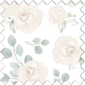 Eleanor's Sage & Ivory Floral White Fabric Swatch