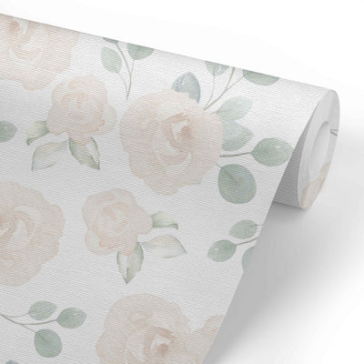 Eleanor's Ivory Floral Removable Wallpaper