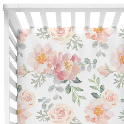 Large dusty rose and blush pink floral fitted crib sheet