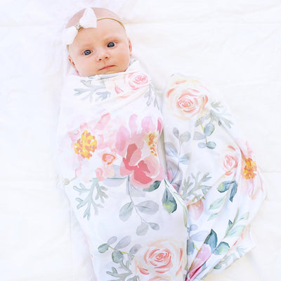Ella's oversized stretchy swaddle in vintage dusty rose and gray floral