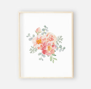Ella's Dusty Rose Floral Digital Wall Art Group