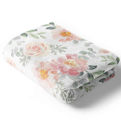 ella's dusty rose floral minky baby blanket