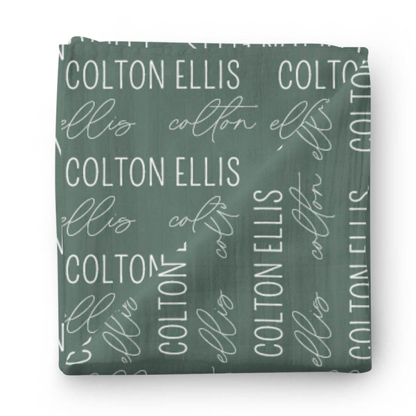 emerald green personalized swaddle