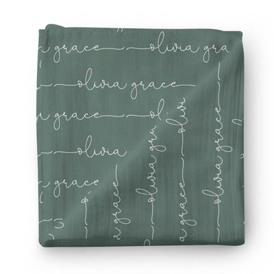 Personalized Emerald Baby Name Swaddle Blanket - Script