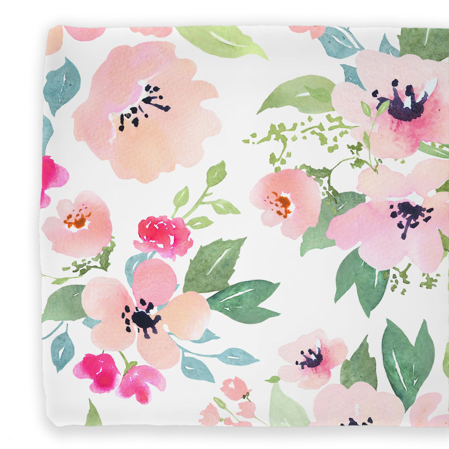 watercolor floral pink peach and green changing pad cover