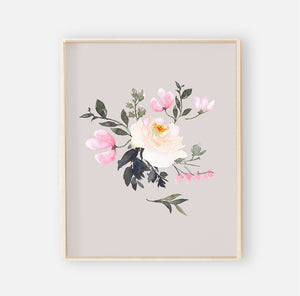Tatum's Taupe Pink and Ivory Floral Digital Wall Art